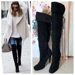 Nine West black suede lace up knee boots